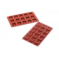 MOLDE SILICONA MINI DESSERT SQUARE 38x38x13mm 15p - 14ml...